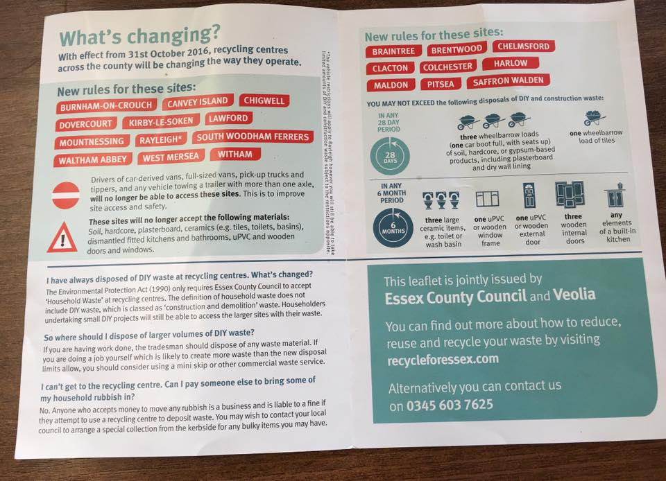 Findaskip - Leaflet changes to recycle centres